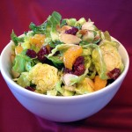 shaved Brussel sprouts salad with oranges and cranberries