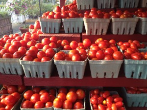Farmstand tomatoes close-up 1