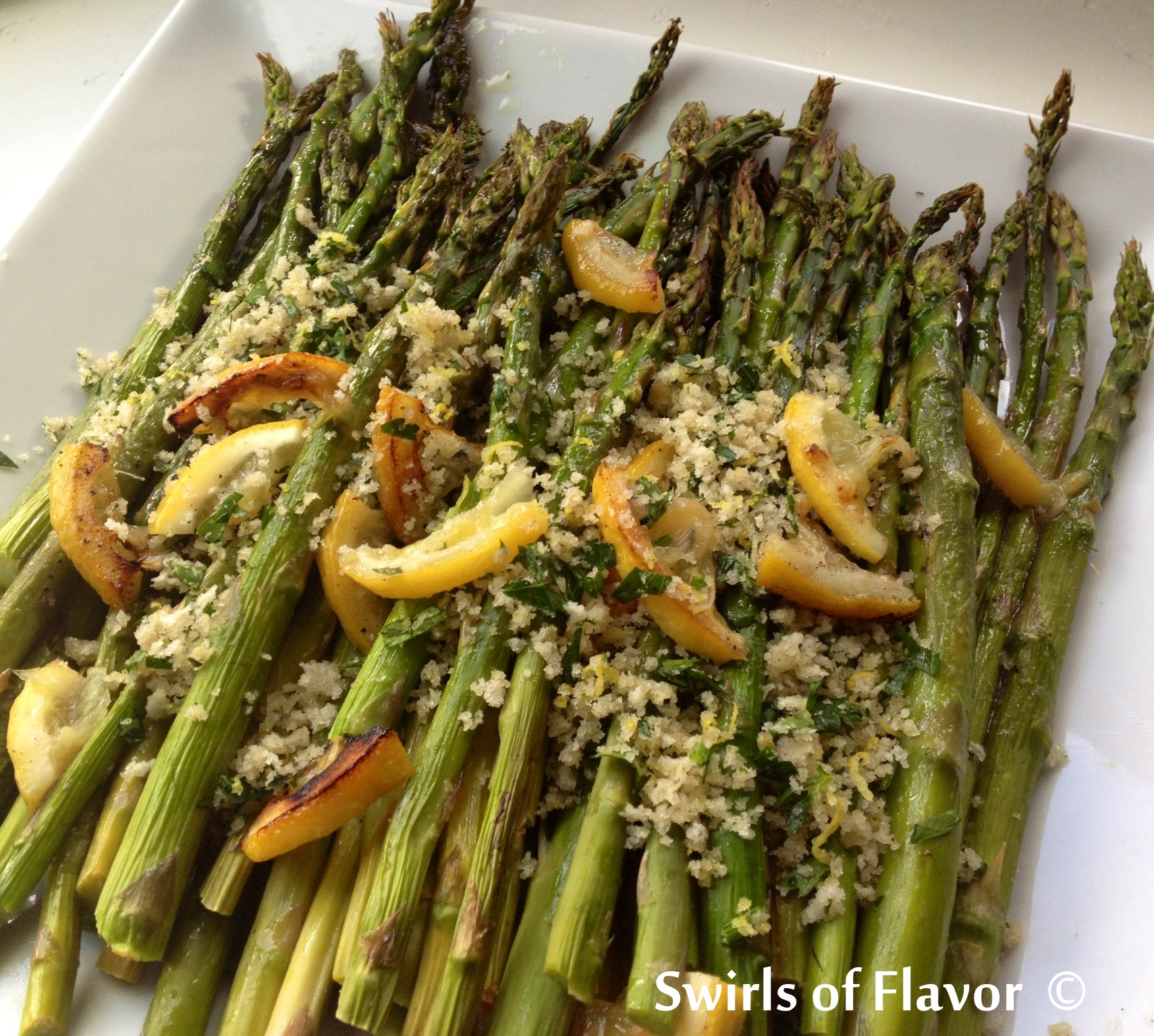 roasted asparagus with a buttery panko topping