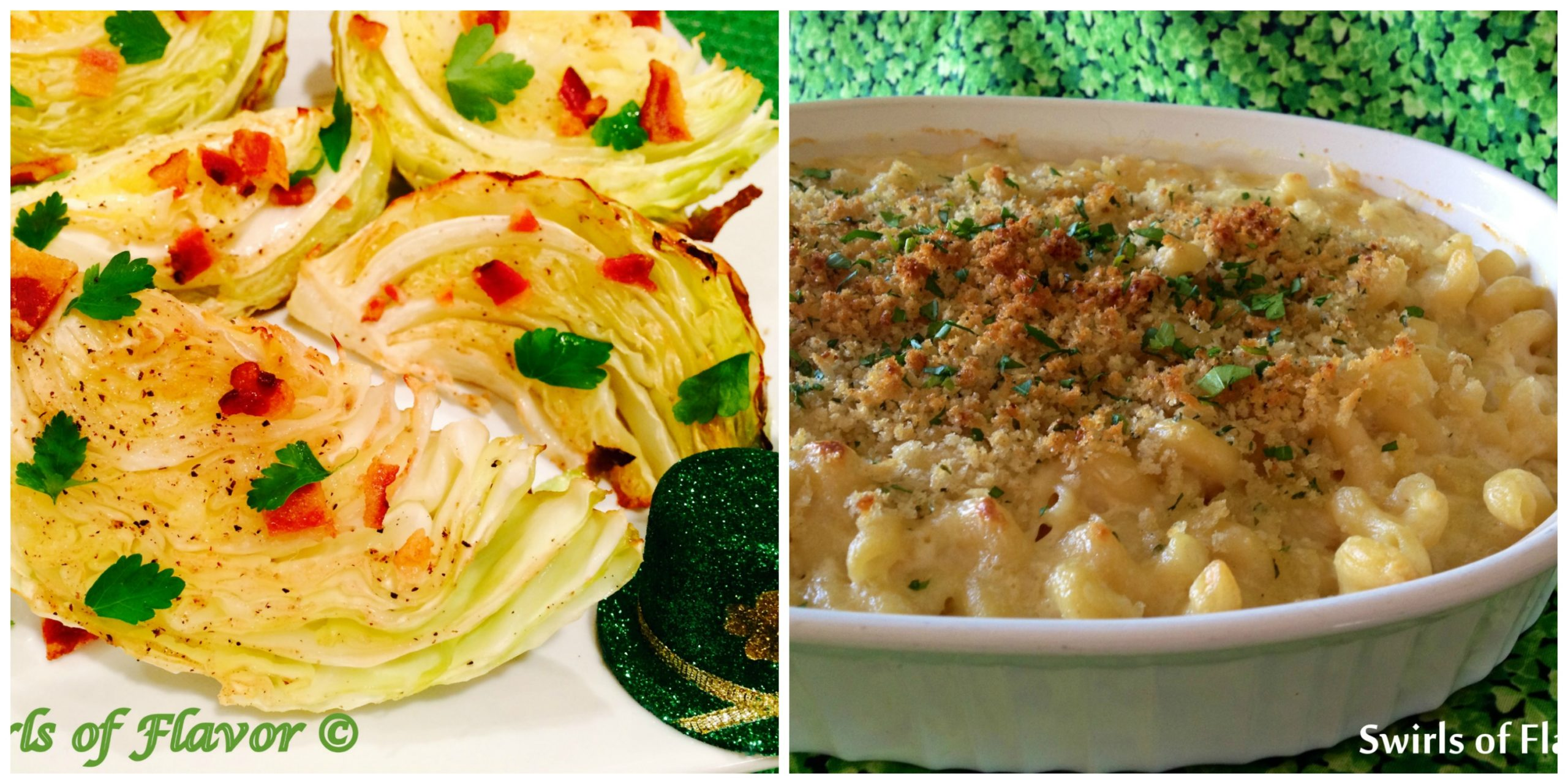 Cabbage Wedges with Bacon and Irish Cheddar Mac and Cheese