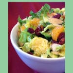 Shaved Brussels Sprouts Salad with text overlay