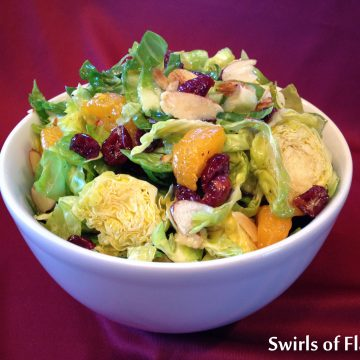 You'll be right in style when you serve this raw Cranberry Brussels Sprouts Salad with Orange Marmalade Vinaigrette! So delicious and good for you at the same time…..and right on trend! The sprouts are thinly sliced and when tossed in the orange marmalade vinaigrette along with the cranberries, oranges and almonds, you get just the right amount of texture, crunchand bursts of flavor.