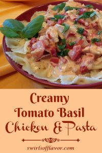 Creamy Tomato Basil Chicken & Pasta is an easy recipe for a hearty weeknight dinner. Pasta and chicken combine with a store bought creamy cheese pasta sauce that is enhanced by the addition of fresh tomatoes, sundried tomatoes and white wine. The finishing touch of fresh basil transforms Creamy Tomato Basil Chicken & Pasta into a gourmet recipe that will be a family favorite! #pasta #creamsauce #tomatoes #sundriedtomatoes #plumtomatoes #chicken #easyrecipe #weeknightdinner #entertaining #familyfavorite #swirlsofflavor
