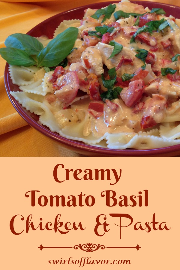 Creamy Tomato Basil Chicken & Pasta combines pasta, chicken, tomatoes, a cheesy pasta sauce and fresh basil for an easy weeknight dinner recipe. A store bought creamy pasta sauce turns Creamy Tomato Basil Chicken & Pasta into a time saving recipe that will be a family favorite! #pasta #creamsauce #tomatoes #sundriedtomatoes #plumtomatoes #chicken #easyrecipe #weeknightdinner #entertaining #familyfavorite #swirlsofflavor