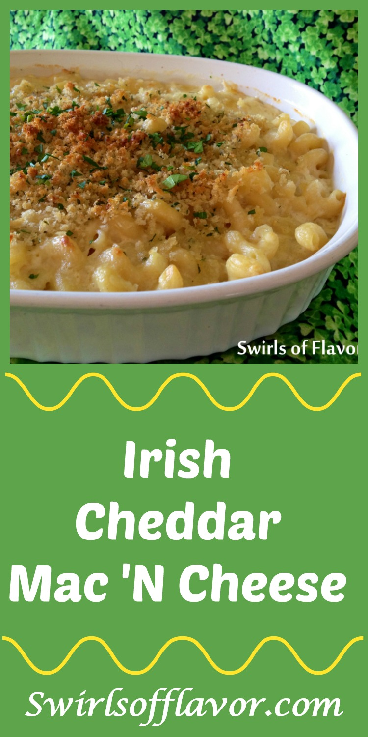 Guaranteed to be a family favorite, Irish Cheddar Mac 'n Cheese is both creamy and cheesy, and you don't have to be Irish to love it because everyone loves mac n cheese! Make it with an Irish cheddar cheese and you're all set for your St. Patrick's Day celebration. #macaroniandcheese #macncheese #irishcheddar #stpatricksday #saintpatricksday #easyrecipe #sidedish #swirlsofflavor