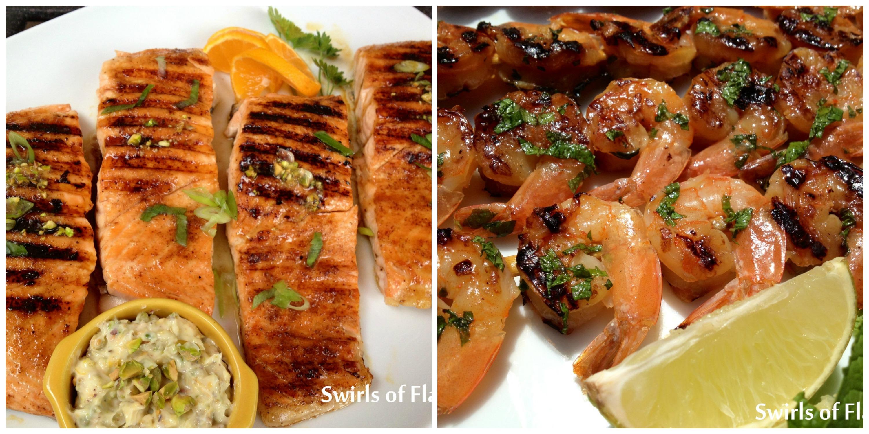 Salmon with Pistachio Butter and Mojito Shrimp