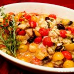 Smothered tilapia Provencal in baking dish