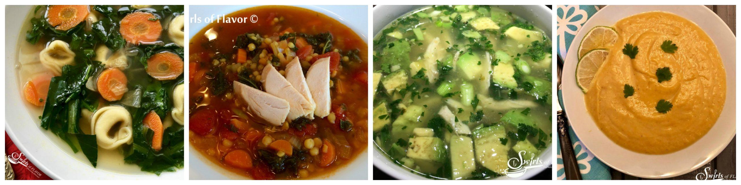 Dandelion Soup, Lentil Broth Bowl, Avocado chicken Soup and Cauliflower Soup