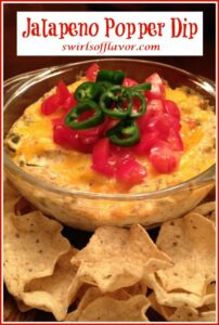 jalapeno dip in bowl with text overlay