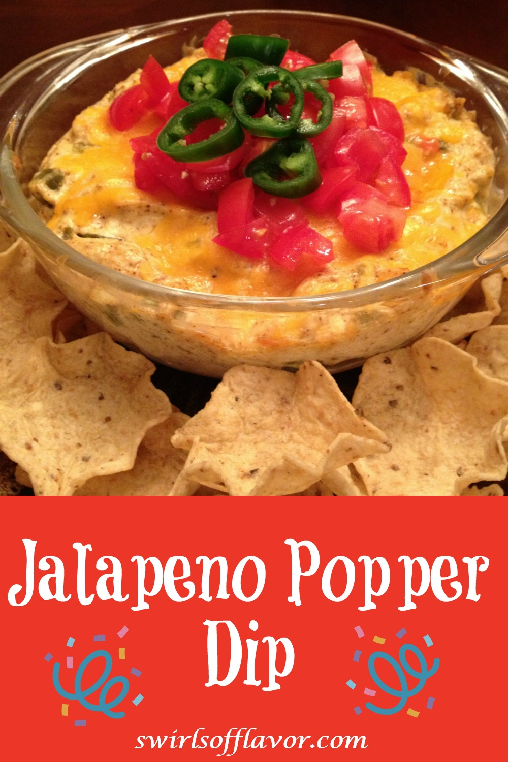 Jalapeno Popper Dip has all the flavors of jalapeno poppers without all the fuss of stuffing each jalapeno! Cheddar and Monterrey Jack cheeses combine with green chiles, pickled jalapenos and seasonings in a cream cheese and mayonnaise base for a kicking good dip recipe! #dip #appetizer #jalapeno #jalapenopoppers #easyrecipe #gameday #entertaining #cheese #breadbowl #swirlsofflavor