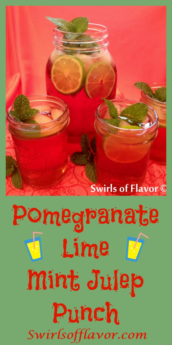 Pomegranate Lime Mint Julep Punch! Perfect for your kentucky Derby party! drinks | easy recipe | Bourbon | mint | #swirlsofflavor