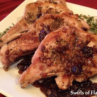 Pork Chop Saute with Cherry Balsamic Reduction