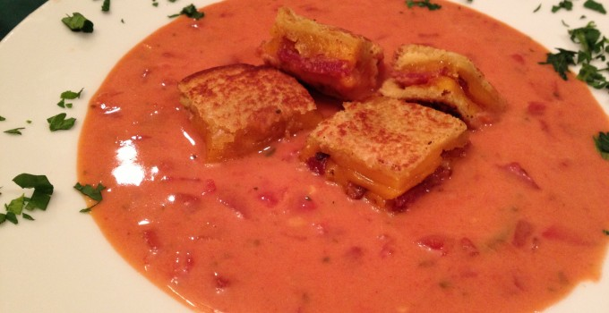 Creamy Tomato Soup with Bacon Cheddar Grilled Cheese Croutons