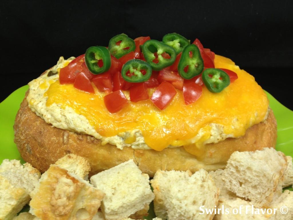 jalapeno popper dip in bread bowl