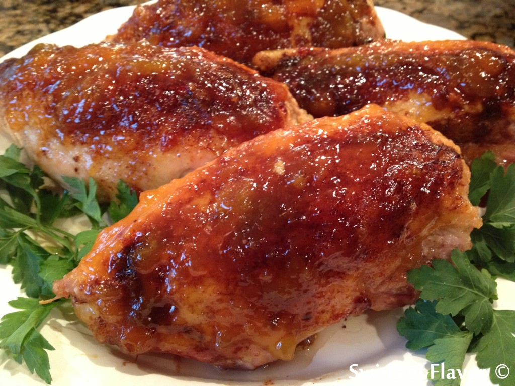 Bourbon Peach Glazed Chicken Breasts 1