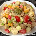 Kickin' Good Buffalo Ranch Potato Salad is an easy summer side dish recipe that gets it's creaminess from prepared salad dressing and crunch from celery and scallions. Add in pickled jalapenos for some extra crunch and heat!