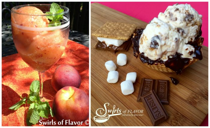 Rum Peach Frozen Lemonade and S'mores Ice Cream