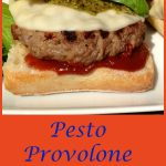 Pesto Provolone Burgers are seasoned with a zesty Italian flavoring mix and sundried tomatoes and topped with provolone, pesto and a homemade Balsamic ketchup! burgers   hamburgers   grilling   ground beef   Italian   provolone   pesto   barbecue   #swirlsofflavor