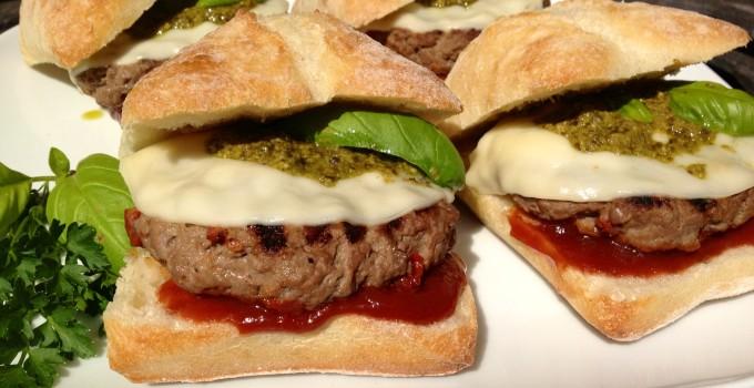 Pesto Provolone Burgers Italiano with Balsamic Ketchup