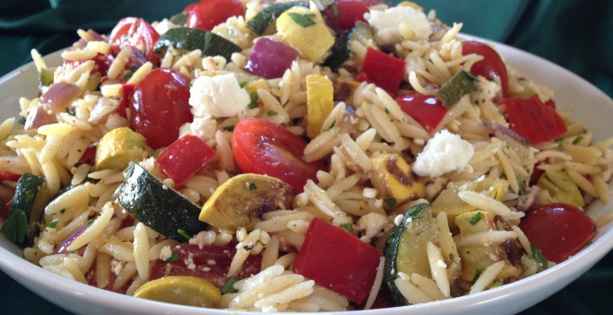 Roasted Rainbow Vegetables with Orzo & Feta