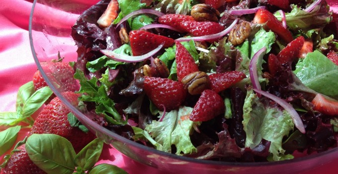 Strawberry Baby Greens Salad with Buttery Spiced Pecans & Strawberry Basil Balsamic Vinaigrette
