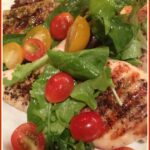 Chicken with baby greens