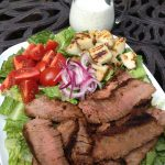 Grilled Steak & Potato Salad with dressing on side