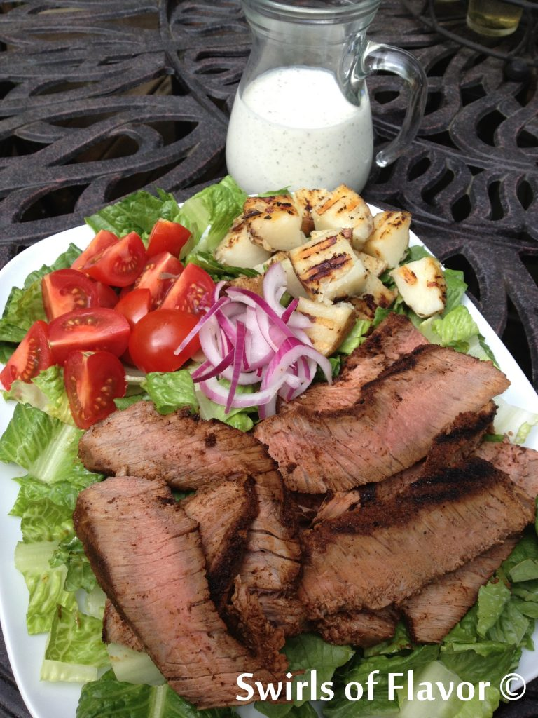 Grilled Steak & Potato Salad with dressing on side