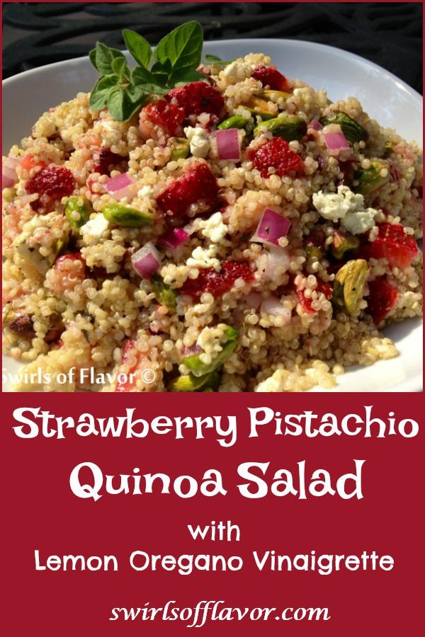 Strawberry Pistachio Quinoa With Lemon Oregano Vinaigrette is an easy quinoa salad that's tossed in a light homemade vinaigrette.