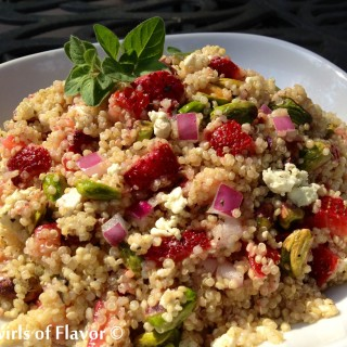 Strawberry Pistachio Quinoa lightly coated in a lemon oregano vinaigrette is a great way to use those fragrant strawberries of summer. From the juicy fresh strawberries and crunchy pistachios to the delicate quinoa, Strawberry Pistachio Quinoa is packed with nutrition and flavor.