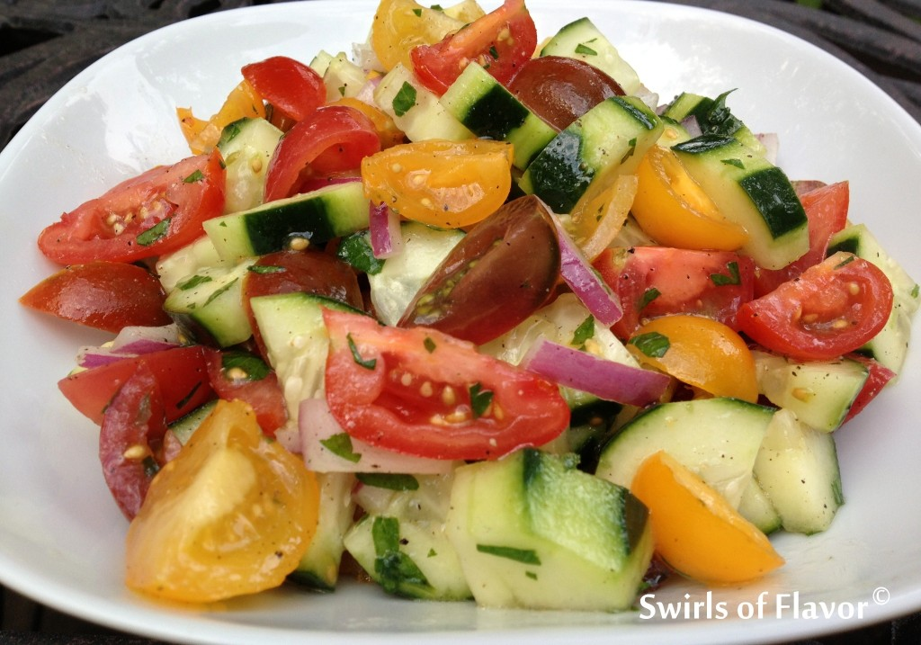 Cucumber & Heirloom Tomato Summer Salad