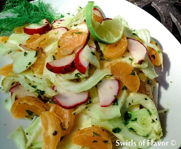 he crunch of fresh fennel, the juiciness of mandarin oranges and the crispness of radishes all come together in a lime-kissed vinaigrette to make Fresh Fennel & Mandarin Salad an amazing combination of flavors and textures.