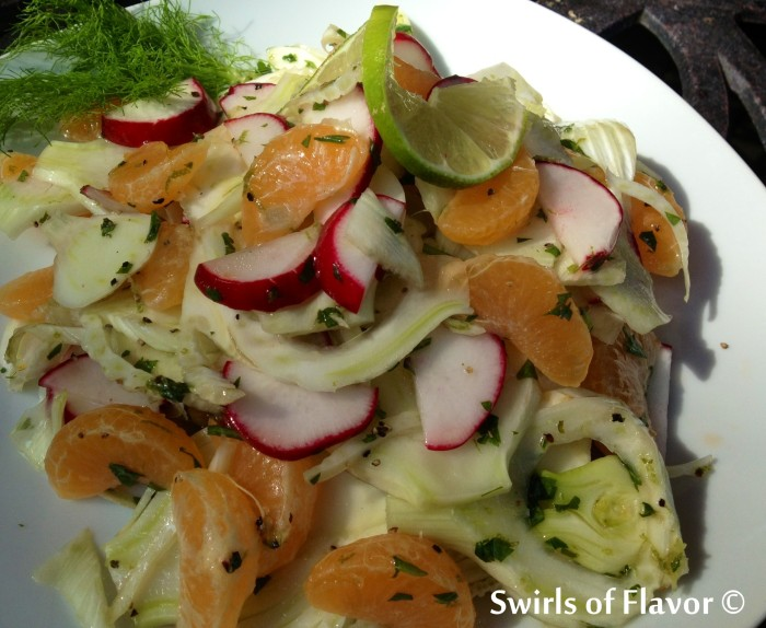 The crunch of fresh fennel, the juiciness of mandarin oranges and the crispness of radishes all come together in a lime-kissed vinaigrette to make Fresh Fennel & Mandarin Salad an amazing combination of flavors and textures. side dish | summer recipe | easy recipe | farmers market | vegetables | salad | #swirlsofflavor