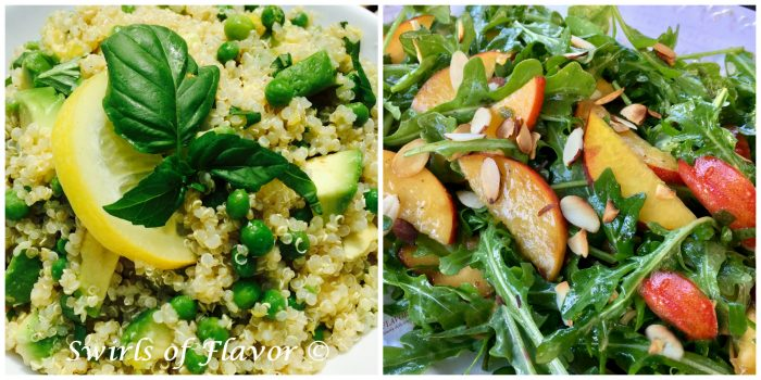 Avocado Quinoa and Peach Arugula Salad