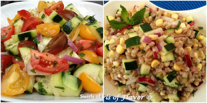 Tomaot and Cucumber Salad and Zucchini corn Farro Salad
