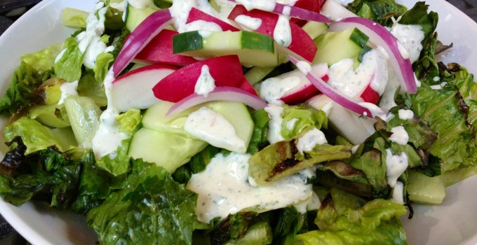 Grilled Romaine with Creamy Roasted Garlic Herb Dressing