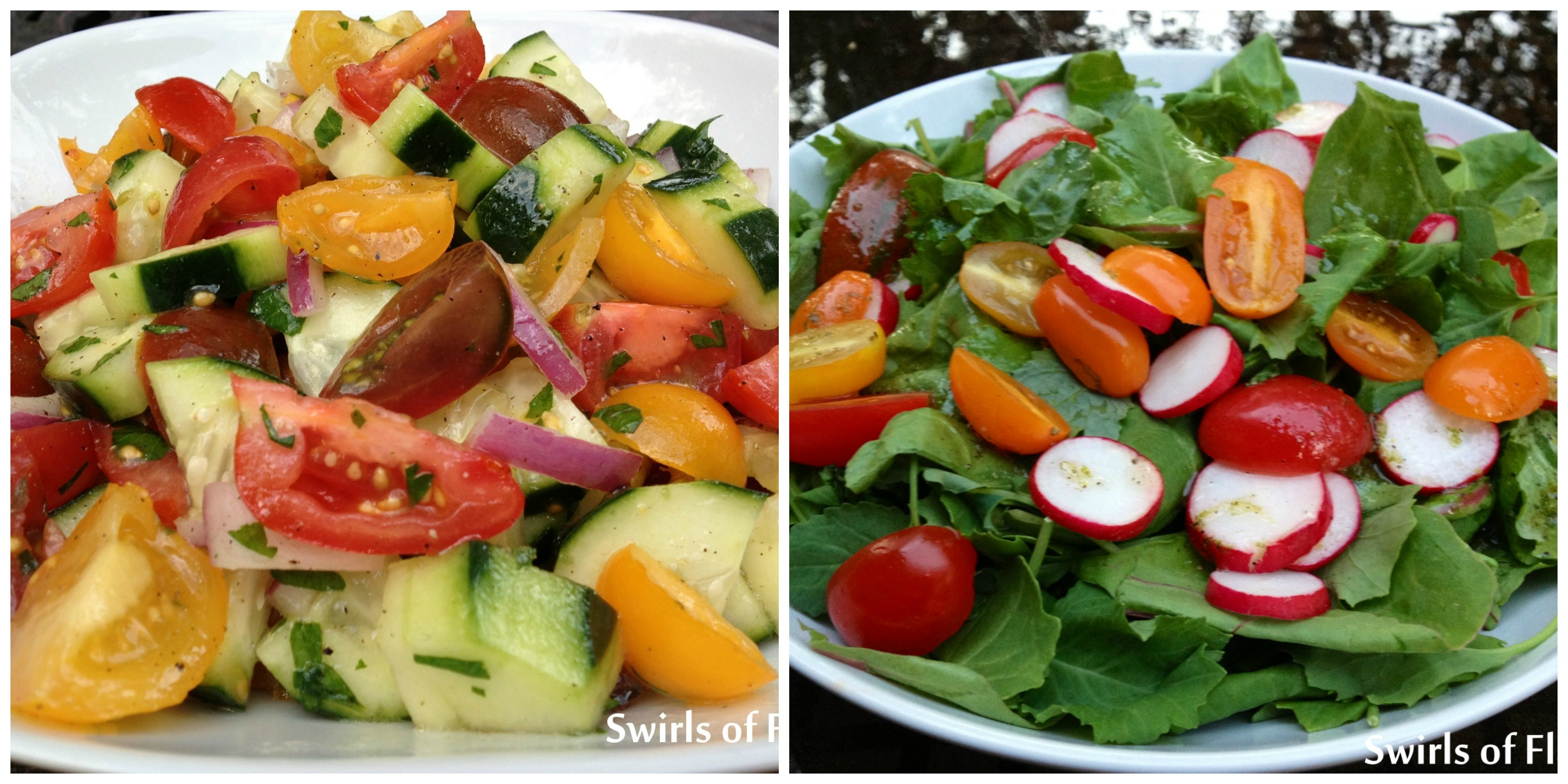 tomato Cucumber Salad and Baby Kale Salad