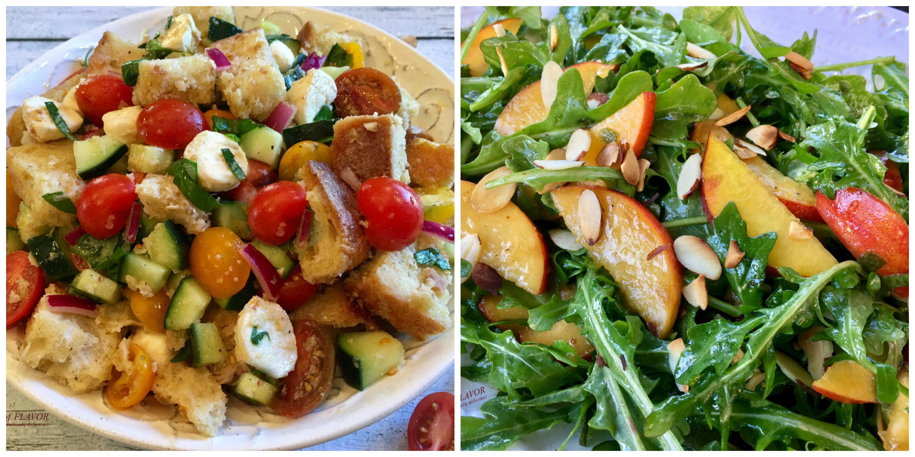 Panzanella and Peach Arugula Salad