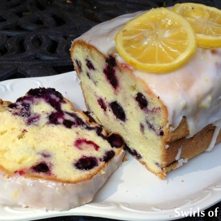 Meyer Lemon Glazed Blueberry Pound Cake