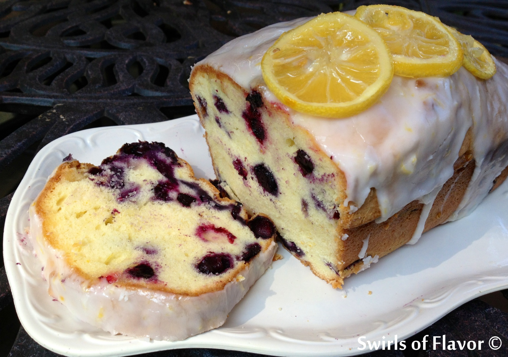 Meyer Lemon Glazed Blueberry Pound Cake - Swirls of Flavor