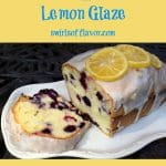 lemon blueberry pound cake with text overlay