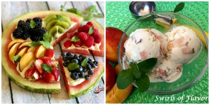 Watermelon pizza and peach ice cream