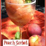 Peach Sorbet in wine glass with frresh mint