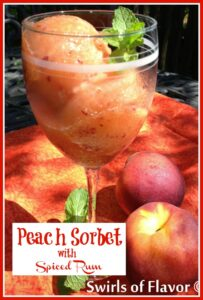 Peach Sorbet in wine glass with frresh mint