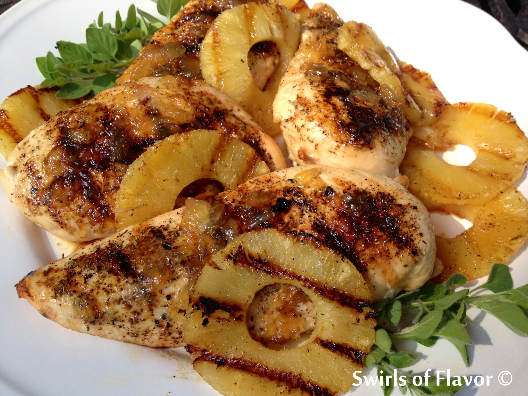 Grilled Pineapple Rum Glazed Chicken Breasts - Swirls of Flavor ...