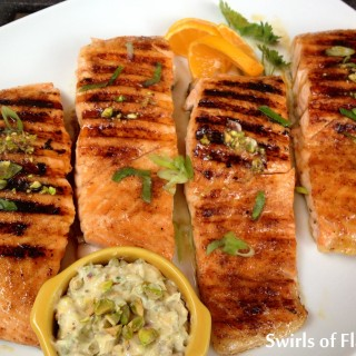 Chipotle Honey Glazed Salmon with Pistachio Butter
