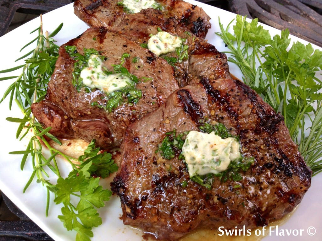 Grilled Sirloin Steaks with Fresh Herb Butter Topping ...
