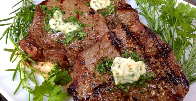Grilled Sirloin Steaks with Fresh Herb Butter Topping