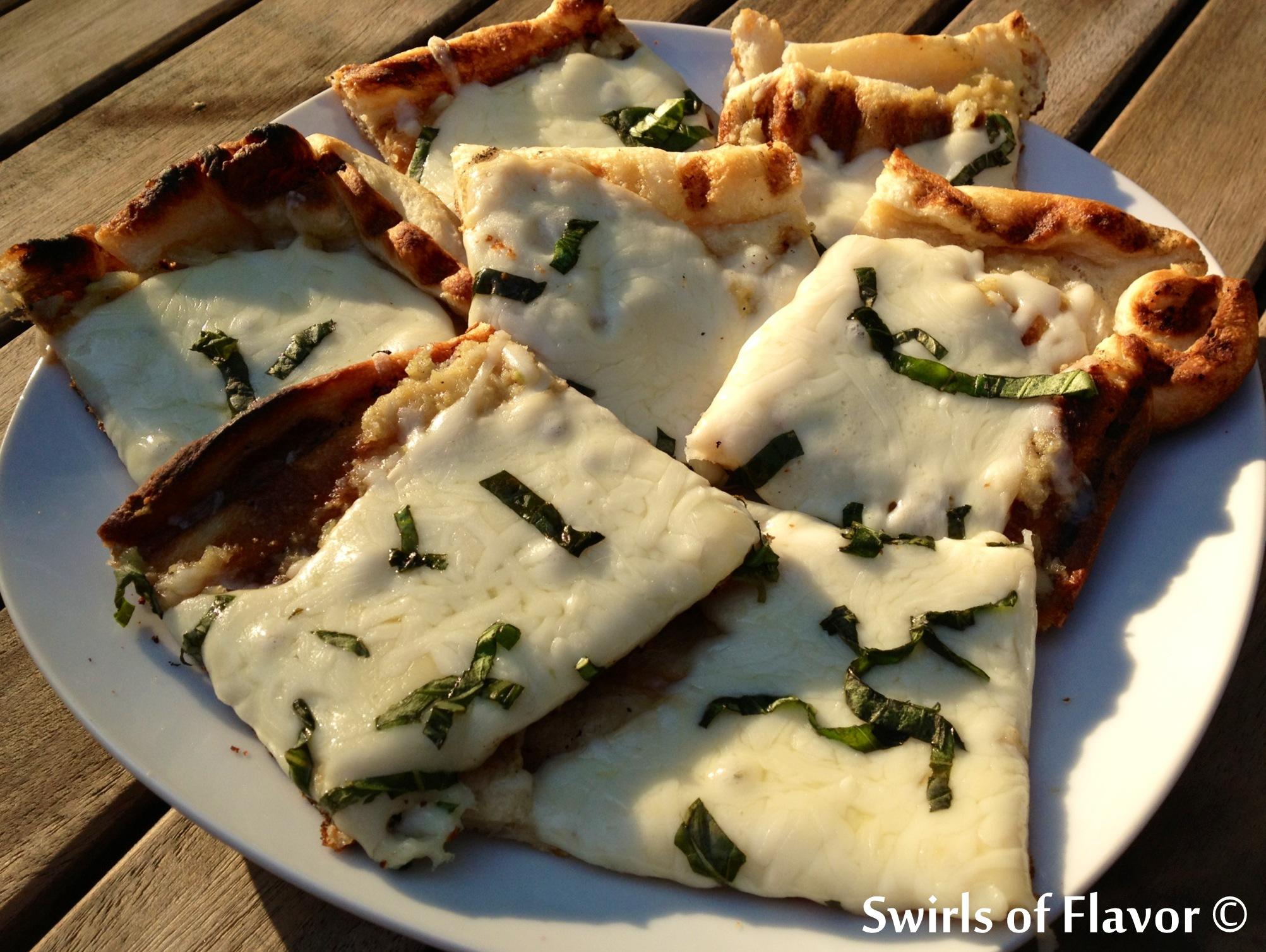 Grilled Garlic Bread Pizza - Swirls of Flavor | Swirls of Flavor