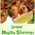 Mojito Shrimp is a twist on the classic rum cocktail.An easy marinade of mint, rum and lime flavors the shrimp in just a few minutes. Grill or broil and you'll have a fabulously delicious Cuban cocktail-inspired seafood dinner!#shrimp #grilling #grilledshrimp #seafood #dinner #easyrecipe #rummarinade #summer #swirlsofflavor